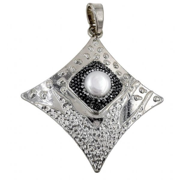 Rhodium Plated Concave Square Pendant w/ Pearl 74 x 84mm